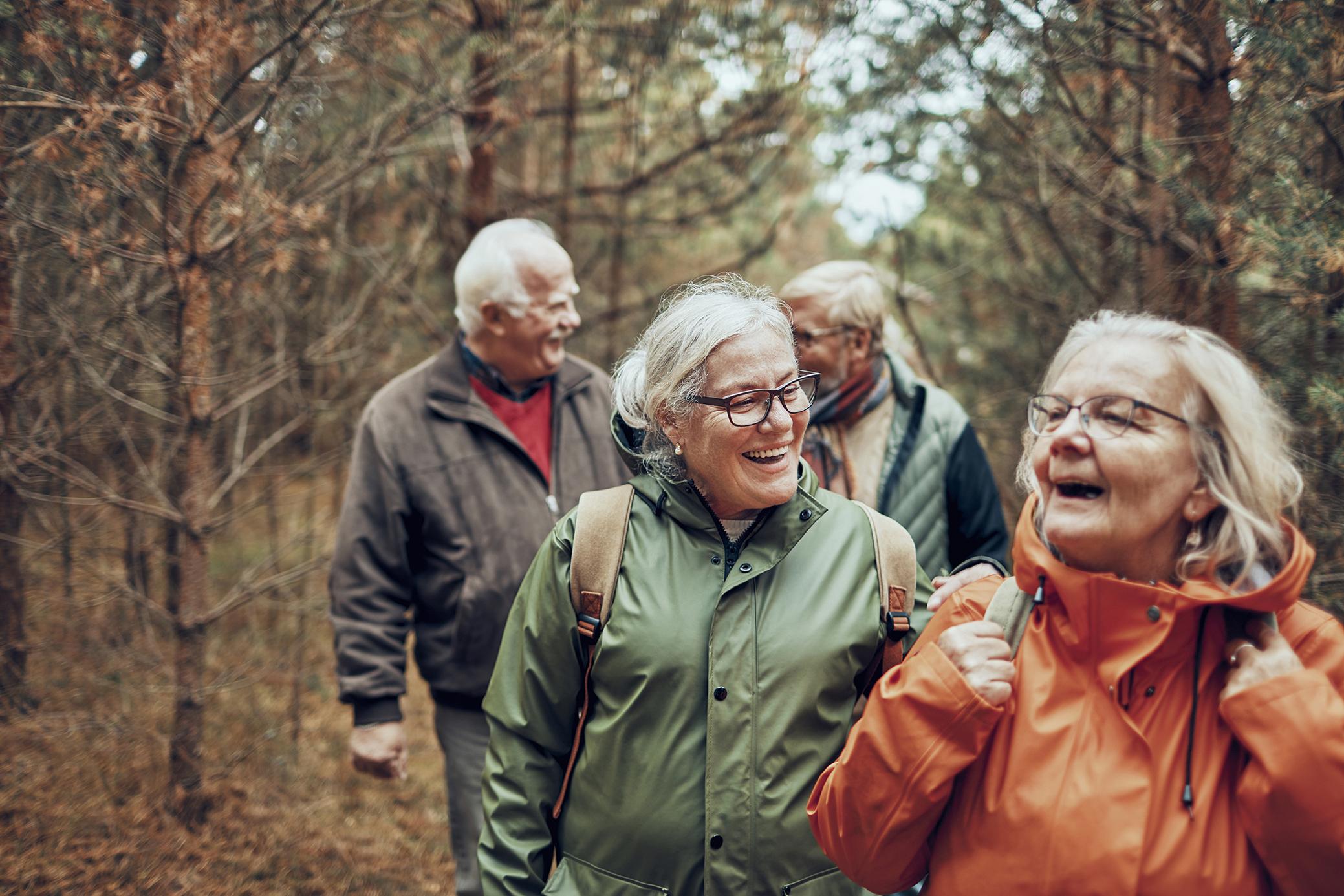 Seniors hiking through the foerst